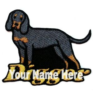 Black and Tan Coonhound Dog Custom Iron-on Patch With Name Personalized Free