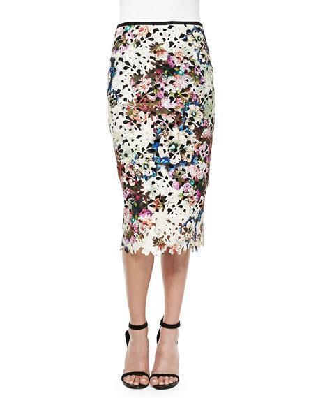 Nicole Miller Artelier Floral Lace Pencil Skirt Size 8