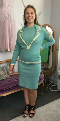 Vintage 1970s 3pc Light Blue Suit by Catalina: ski