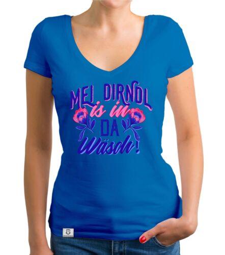 Damen T-Shirt V-Ausschnitt Mei Dirndl is in da Wäsch Wiesn Maß Trachtenshirt