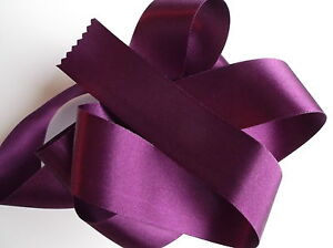 Double-Faced-Satin-Ribbon-Berisfords-Plum-Aubergine-Colour-49-amp-Odd-lengths