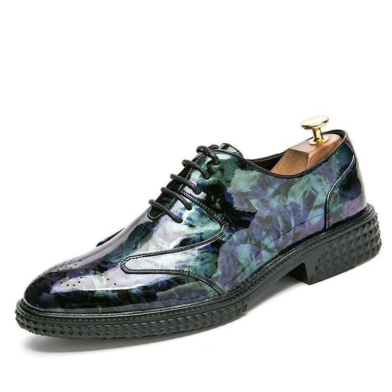 Boys Party Nightclub colors Shiny Low Top Brogue shoes Casual Spring Trendy 2019