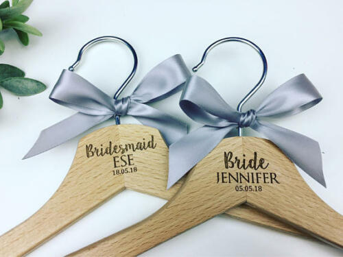 Engraved wedding hangers Grey wedding theme
