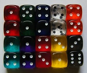 20-Six-Sided-Gem-Spot-Dice-Translucent-15MM-RPG-D6-NEW