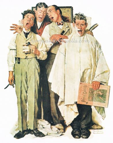 "Norman Rockwell print /""BARBERSHOP QUARTET/"" singing choir A CAPELLA musical song"