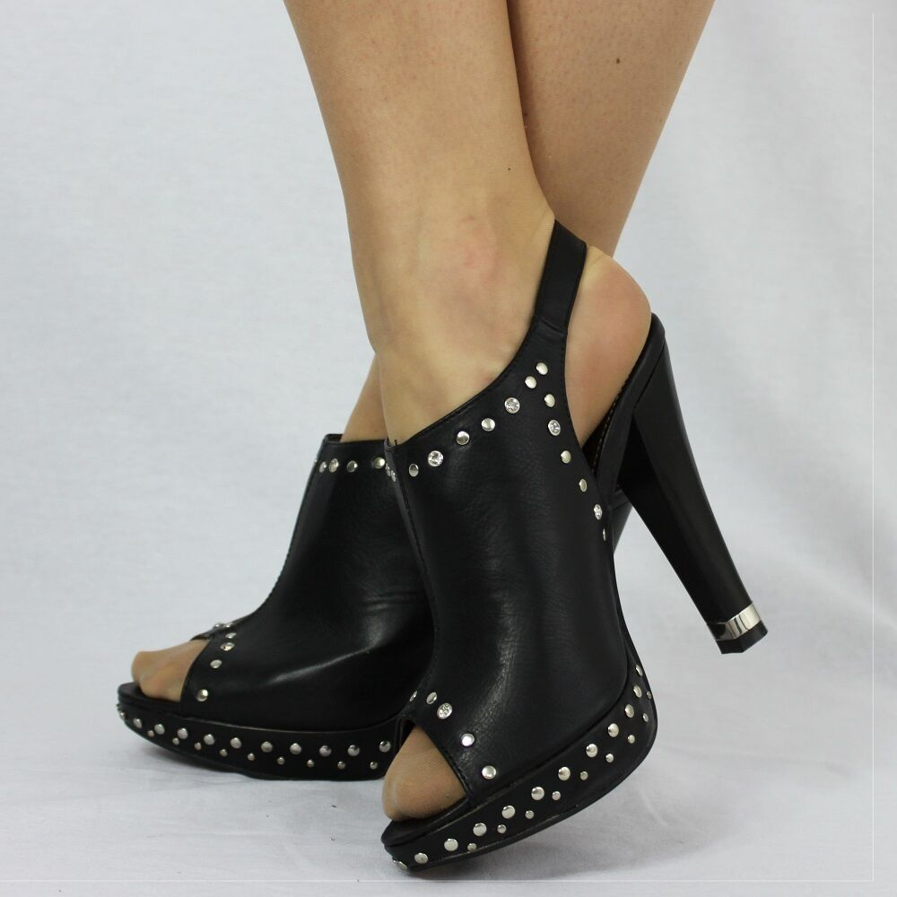 LADIES STUDDED CUT OUT PEEP TOE BUCKLE STRAP FASTENING TO ANKLE BLACK SHOES 929