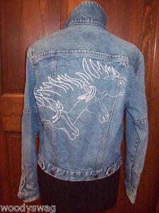 Calvin-Klein-Denim-Jacket-size-S-vintage-horses-sexy-Cotton-100-per-cent-Blues