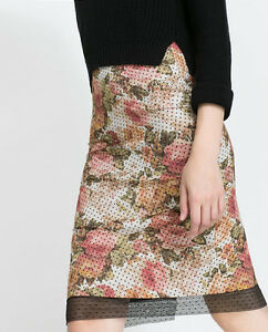ZARA-SALE-POLKA-DOT-FLORAL-LACE-TUBE-SKIRT-SIZE-S-SMALL