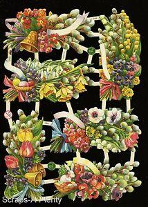 German Victorian Style Embossed Scrap Die Cut- Spring Time Easter Flowers EF7369
