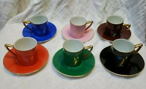 Antique-Czechoslovakia-Porcelain-MULTICOLOR-DEMITASSE-CUPS-amp-SAUCERS-Set-of-6