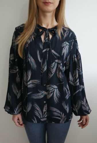 PER UNA NAVY FEATHER PRINT BLOUSE SIZE 6-24 NEW £35 IN STORE TIE NECK TOP