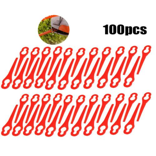 100 Stk Kunststoff Klingen Kunststoffmesser Ersatzklingen Rot für Rasentrimmer