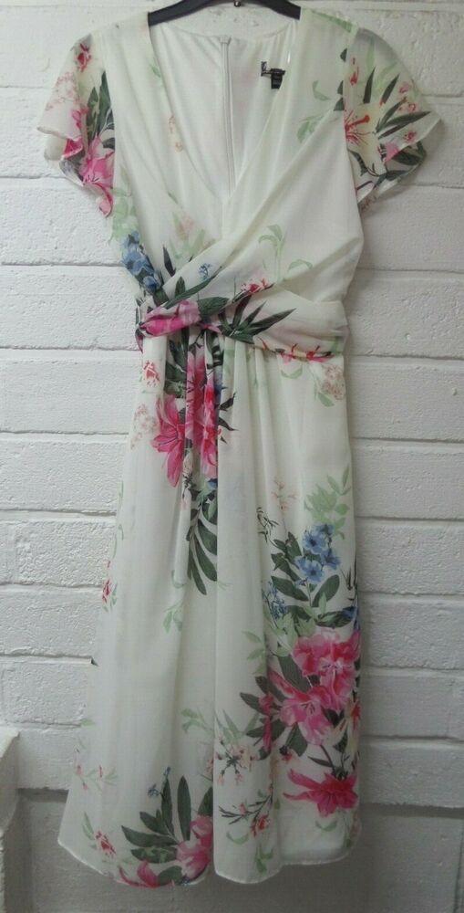 Femmes Neuf Cream & Rose Col V Floral Wrap Plissé Swing Tea Dress Uk8-16