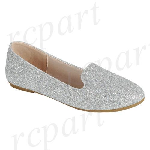 New women/'s shoes ballerina ballet flats glitter wedding casual silver