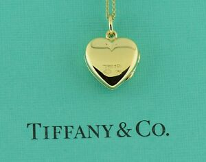 691ca278a Tiffany & Co 14K Yellow Gold Heart Picture Lock Pendant Necklace | eBay