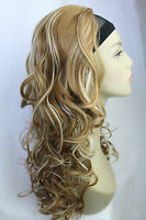 "New Mixed Blonde Synthetic Curly 18"" long 3/4 Half Wig/Hair Fall Hairpieces"