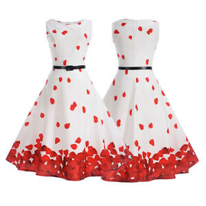 Women-Retro-Vintage-50s-Sleeveless-Floral-Rockabilly-Party-Prom-Belt-Swing-Dress