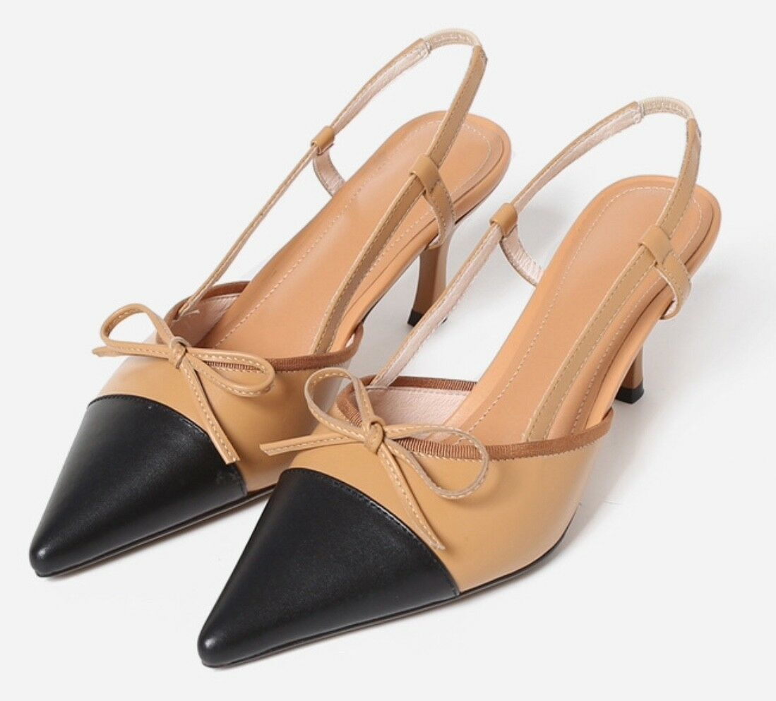 la migliore moda Calfskin Leather Leather Leather Colourblock with Bow Kitten Heels Slingbacks Pump scarpe  online economico
