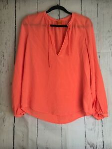 10868e6cbb7e1 Image is loading Joe-Fresh-100-Silk-Orange-long-sleeve-top-