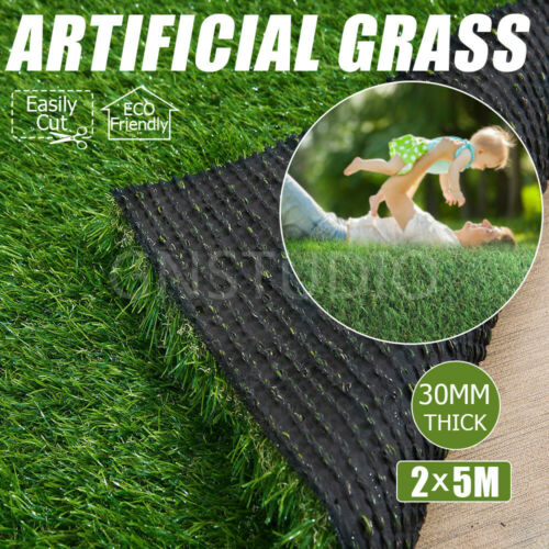30mm 10SQM Synthetic Turf Artificial Grass Mat Green Plastic Fake Plant Lawn AU