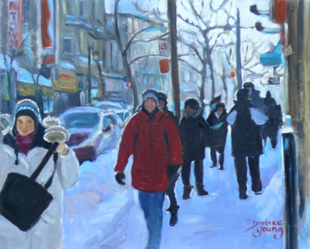 Montreal Winter Scene, Ste-Catherine, 8x10, Oil , Darlene Young Canadian Artist