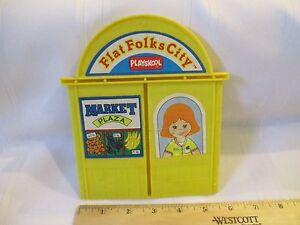 VTG-1990-Playskool-Flat-Folks-City-back-piece-replacement-part-only-toy-yellow