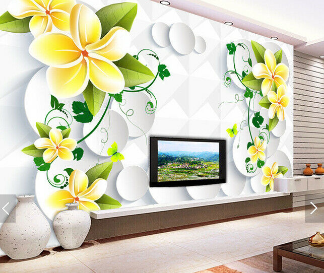 3D Gold Flowers 521 Wallpaper Murals Wall Print Wallpaper Mural AJ WALL AU Kyra