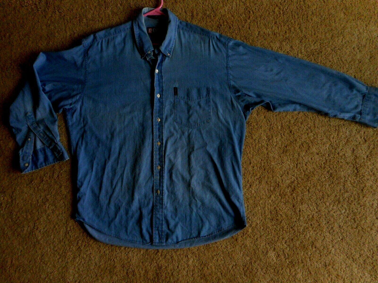 Ralph Lauren Denim Collar Button Up sz Medium 16.5 Faded 100% Cotton Long Sleeve
