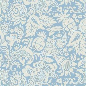 Wallpaper-Designer-Blue-on-Cream-Bali-Fruit-and-Floral-Vine