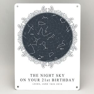 Image Is Loading 21st BIRTHDAY GIFTS PERSONALISED STAR MAP PRINT METAL