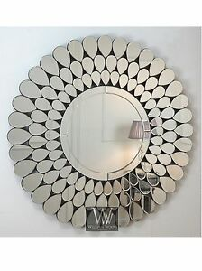 Petra silver modern round petal wall mirror 40 x 40 x for Large silver modern mirror