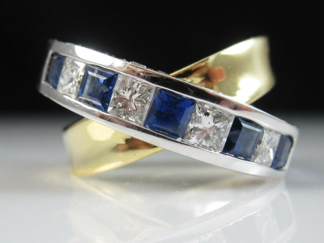 18K Sapphire Diamond Ring Crossover X Channel Set Two-Tone Fine Jewelry Size 5