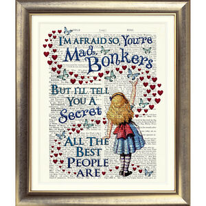 ALICE-IN-WONDERLAND-DICTIONARY-PAGE-ART-PRINT-VINTAGE-ANTIQUE-BOOK-BONKERS-QUOTE