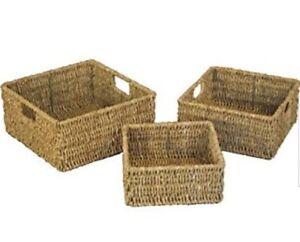 Sea-Grass-Square-Storage-Basket-Metal-Wire-Frames-Home-Kitchen-Hampers-Craft