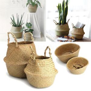 Foldable-Nursery-Laundry-Bag-Seagrass-Belly-Basket-Storage-Plant-Pot-Room-Deco-w