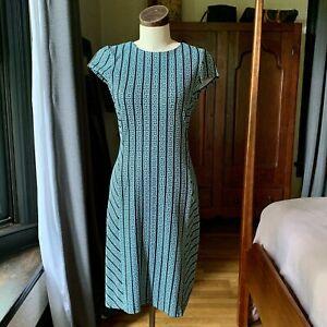 J MCLAUGHLIN Greek Key Teal Fit Flare Dress XS