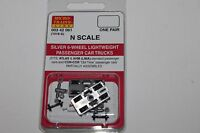 N Scale Micro-trains Line Mtl Silver 6 Wheel Passenger Car Trucks 003 42 061 P