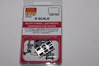 N Scale Micro-trains Line Mtl Silver 6 Wheel Passenger Car Trucks 003 42 061 P