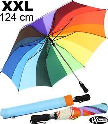 Regenschirm Regenbogen XXL 124cm Damen Taschenschirm groß stabil Automatik bunt