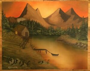 Oil-Painting-034-SUNSET-ON-THE-LAKE-034-on-Canvas-20-034-x-16-034-Art-Landscape-Picasso