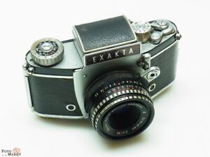 Exakta-Varex-IIb-SLR-Kamera-Objektiv-Meyer-Domiplan-2-8-50mm-49mm-lens