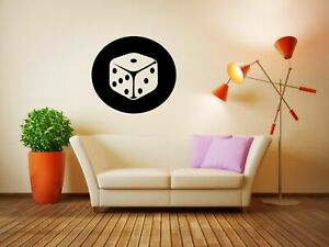 Wall-Vinyl-Sticker-Decals-Mural-Room-Design-Art-Dice-Casino-Roulette-Fun-bo1962