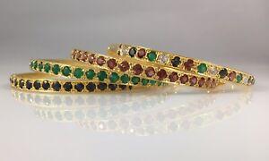 Fine-Genuine-Gemstone-22k-Heavy-Electroplated-Bangle-Bracelet-1-75ctw-New