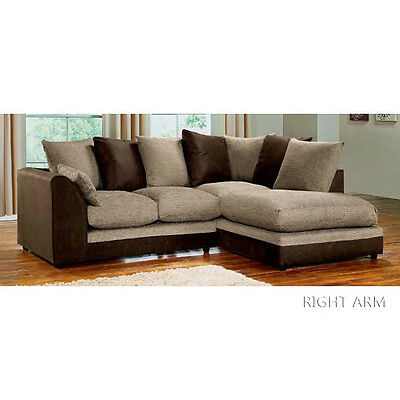 Dylan Corner Sofa In Black & Grey or Brown & Beige, Footstools, 2+3 Seaters