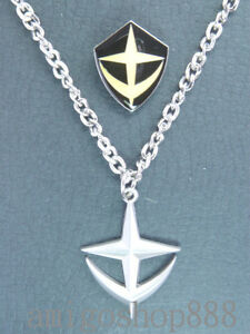GUNDAM-E-F-S-F-Army-Silver-Necklace-Pin-Set