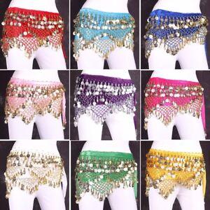 Velvet-Belly-Dance-Hip-Scarf-Coin-amp-Bead-Belt-Wrap-Dancing-Costume-Festival-Skirt
