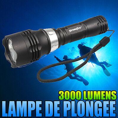 LAMPE TORCHE DE PLONGÉE SOUS-MARINE ÉTANCHE A 50M 3000 LUMENS LED CREE XM-L T6