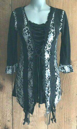 NWT PRETTY ANGEL SHIRT blouse TUNIC Vintage western RUFFLES  LACE SM-XL BLK//SLV