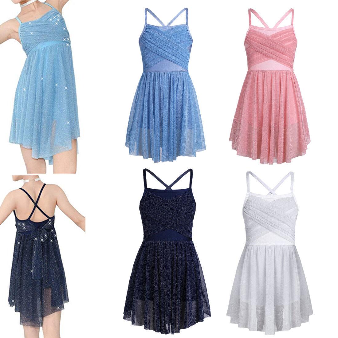 Kids Girls Ballet Dress Leotard Tutu Skirts Lyrical Dance Ballroom Dancewear