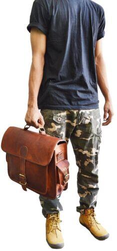 Men Vintage Genuine Leather Briefcase Messenger Shoulder Bag Satchel Computer
